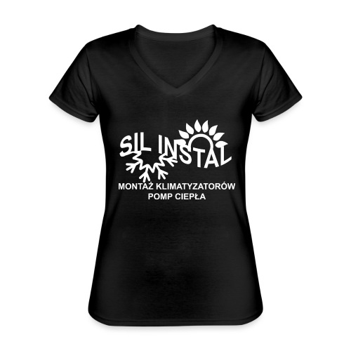 sil instal - Klasyczna koszulka damska z dekoltem w serek
