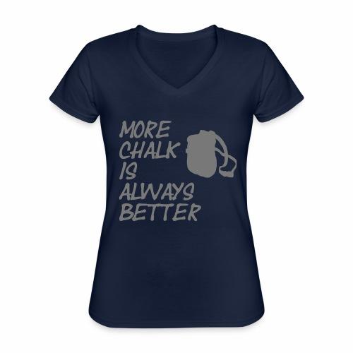 More chalk is always better - Klassisches Frauen-T-Shirt mit V-Ausschnitt