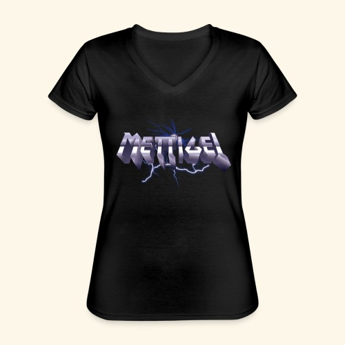 Mettigel T Shirt Design Heavy Metal Schriftzug - Klassisches Frauen-T-Shirt mit V-Ausschnitt