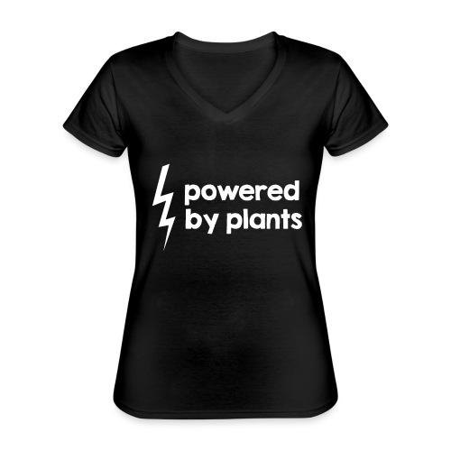Powered by plants #2 - Klassisches Frauen-T-Shirt mit V-Ausschnitt