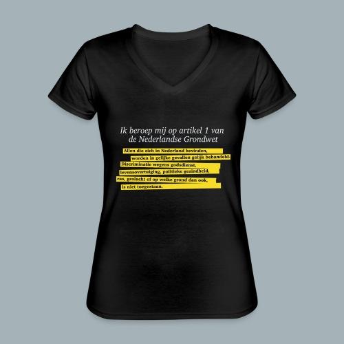 Nederlandse Grondwet T-Shirt - Artikel 1 - Klassiek vrouwen T-shirt met V-hals