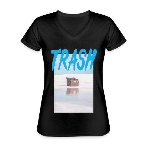 Trash - Klassisches Frauen-T-Shirt mit V-Ausschnitt