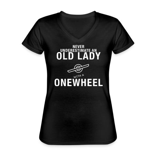 Old Lady Onewheeler - Klassisk dame T-shirt med V-udskæring