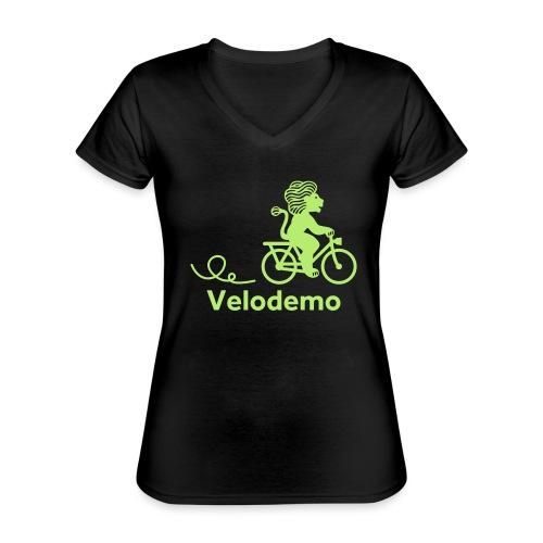 Züri-Leu mit Text - Klassisches Frauen-T-Shirt mit V-Ausschnitt