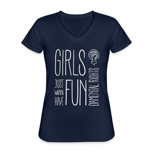 Girls just wanna have fundamental rights - Klassisches Frauen-T-Shirt mit V-Ausschnitt