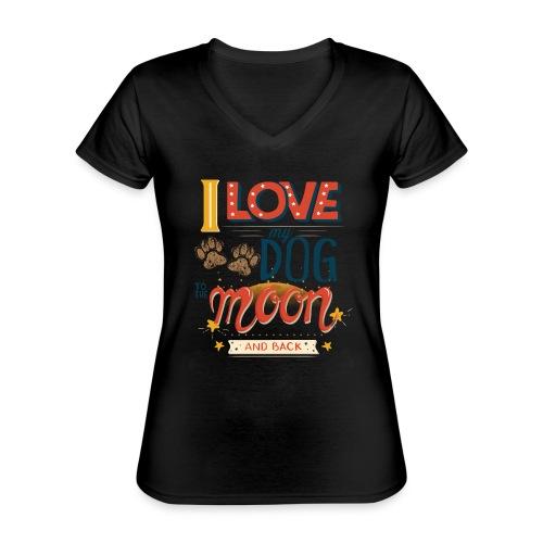 Moon Dog Light - Klassisk T-shirt med V-ringning dam