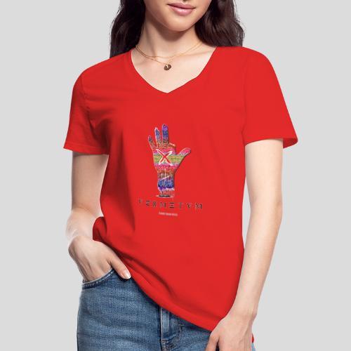 VERMETUM DONT BE SCARED EDITION - Klassisches Frauen-T-Shirt mit V-Ausschnitt