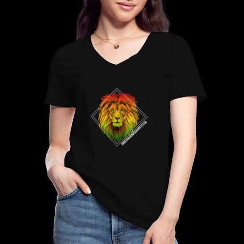LION HEAD - UNDERGROUNDSOUNDSYSTEM - Klassisches Frauen-T-Shirt mit V-Ausschnitt