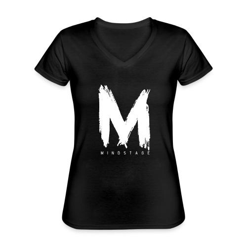 Logo Weiß - Klassisches Frauen-T-Shirt mit V-Ausschnitt