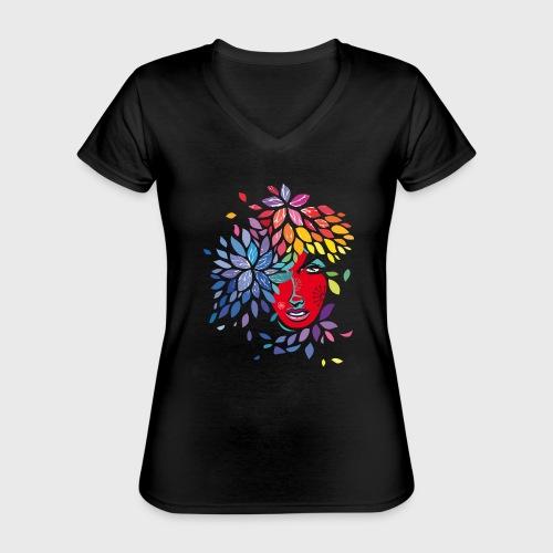 Femme cheveux de fleurs - T-shirt classique col V Femme
