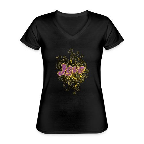 LOVE VIOLA CON DECORI - Maglietta da donna classica con scollo a V