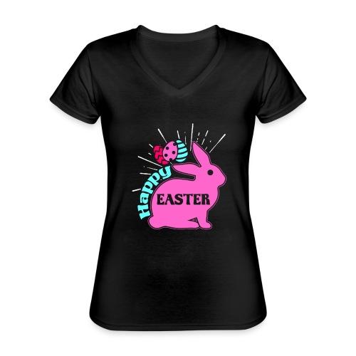 Happy Easter - Frohe Ostern - Klassisches Frauen-T-Shirt mit V-Ausschnitt