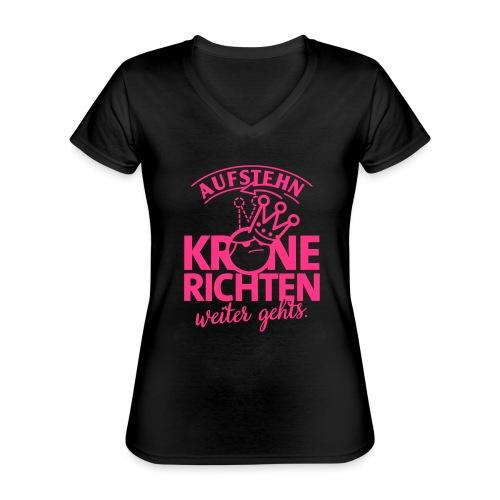Krone richten - Klassisches Frauen-T-Shirt mit V-Ausschnitt