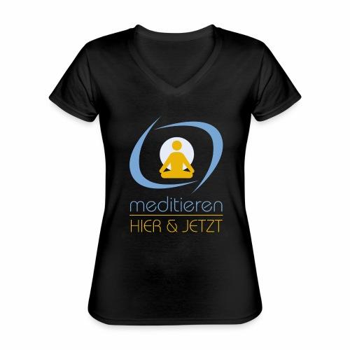 MeditierenHierJetzt.ch - Klassisches Frauen-T-Shirt mit V-Ausschnitt