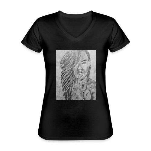Jyrks_kunstdesign - Klassisk dame T-shirt med V-udskæring
