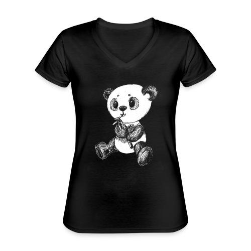 Panda bjørn hvid scribblesirii - Klassisk dame T-shirt med V-udskæring