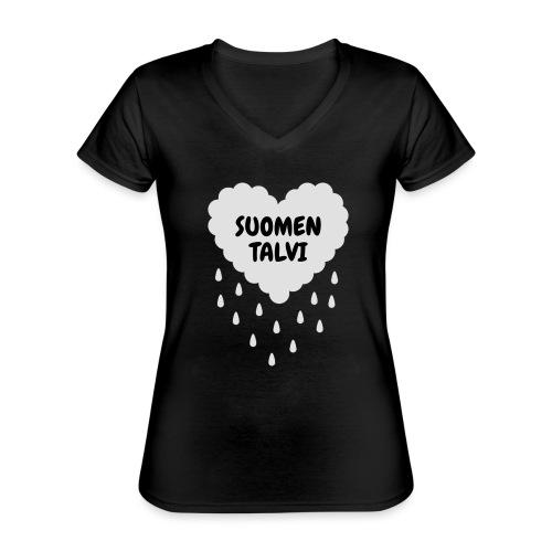 Suomen talvi - Klassinen naisten t-paita v-pääntiellä