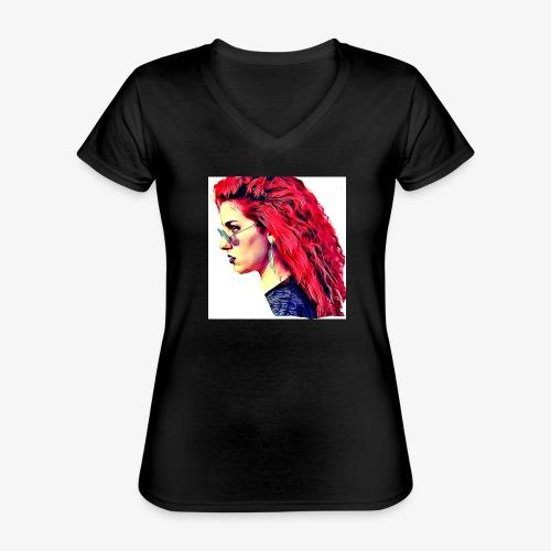 MINERVA - Camiseta clásica con cuello de pico para mujer