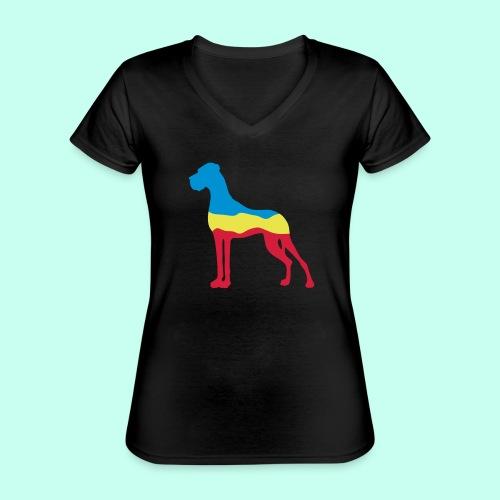 Flaggen Dogge - Klassisches Frauen-T-Shirt mit V-Ausschnitt