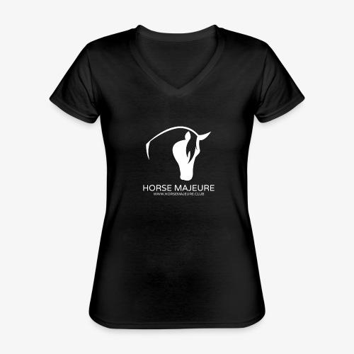 Horse Majeure Logo / Valkoinen - Klassinen naisten t-paita v-pääntiellä