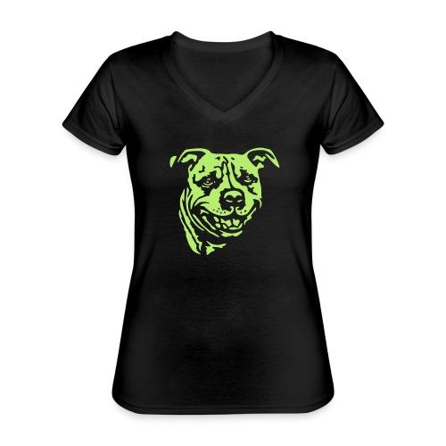 Staffbull negativ - Klassisches Frauen-T-Shirt mit V-Ausschnitt