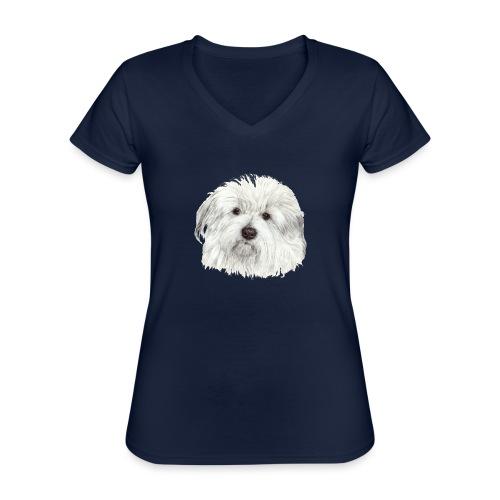 coton-de-tulear - Klassisk dame T-shirt med V-udskæring