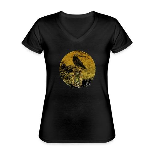 'Memento Mori', round w. logo by BlackenedMoonArts - Klassisk dame T-shirt med V-udskæring