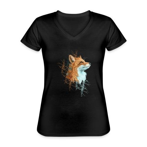 Happy the Fox - Klassisches Frauen-T-Shirt mit V-Ausschnitt