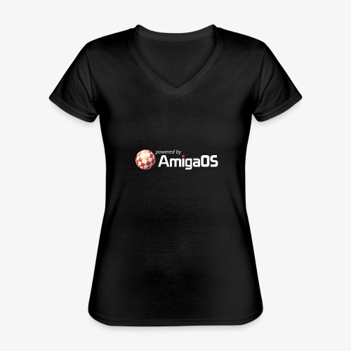 PoweredByAmigaOS white - Classic Women's V-Neck T-Shirt