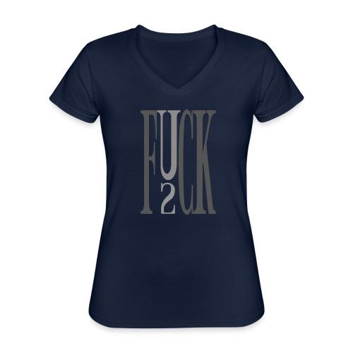 CROW - F_you_2 - Klassisches Frauen-T-Shirt mit V-Ausschnitt