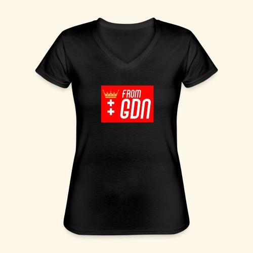 #fromGDN - Klasyczna koszulka damska z dekoltem w serek