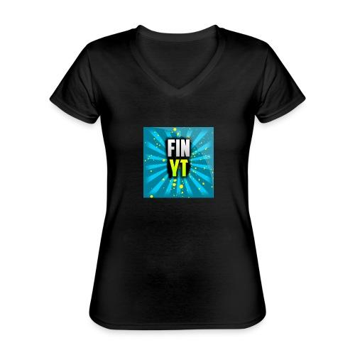 Uusi Youtube Logo - Klassinen naisten t-paita v-pääntiellä