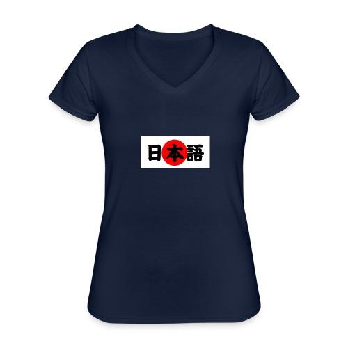 japanese - Klassinen naisten t-paita v-pääntiellä
