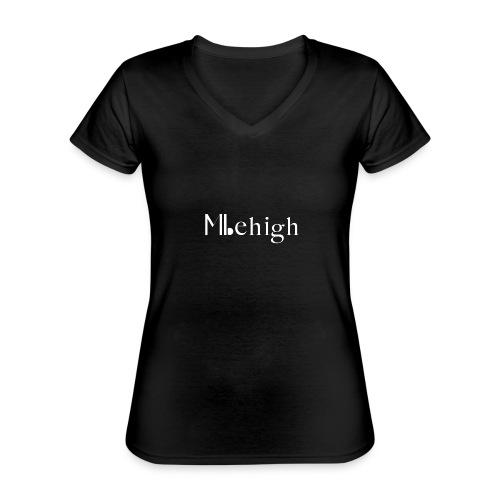 Milehigh Rags Logo White - Klassisk T-skjorte med V-hals for kvinner