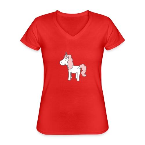 unicorn as we all want them - Klassisk dame T-shirt med V-udskæring