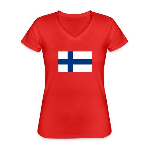 800pxflag of finlandsvg - Klassinen naisten t-paita v-pääntiellä