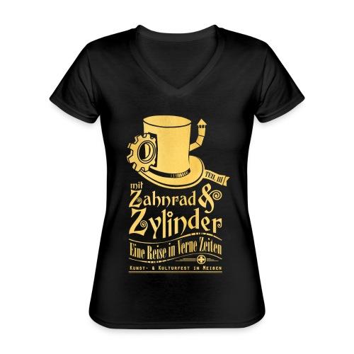 ZuZ 2019 + Brust- & Rückenmotiv - Klassisches Frauen-T-Shirt mit V-Ausschnitt