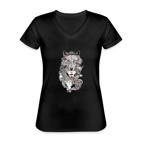 gray wolf Ladys INDP gold - Klassisches Frauen-T-Shirt mit V-Ausschnitt
