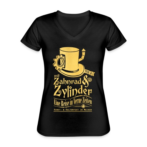 ZuZ 2018 + Brust- & Rückenmotiv - Klassisches Frauen-T-Shirt mit V-Ausschnitt