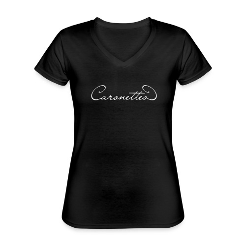 Caronettes Vorder- und Rückseitenprint - Klassisches Frauen-T-Shirt mit V-Ausschnitt