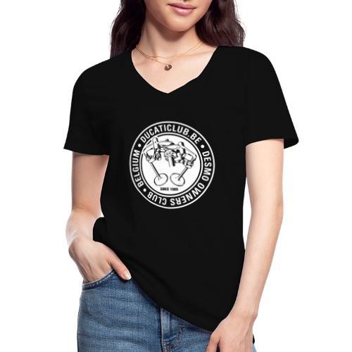 DOC DUCATICLUB.BE ITALIAN FLAG - Klassiek vrouwen T-shirt met V-hals