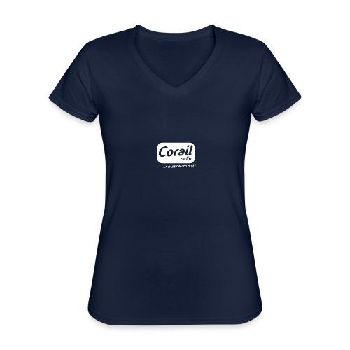 Logo blanc - T-shirt classique col V Femme