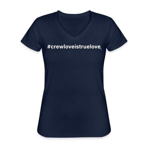 #crewloveistruelove white - Klassisches Frauen-T-Shirt mit V-Ausschnitt