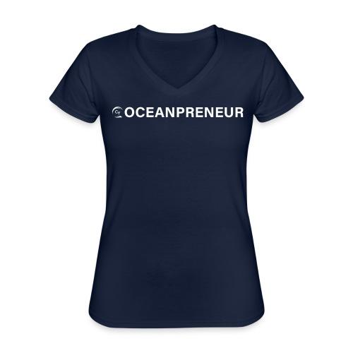 oceanpreneuer white - Klassisches Frauen-T-Shirt mit V-Ausschnitt