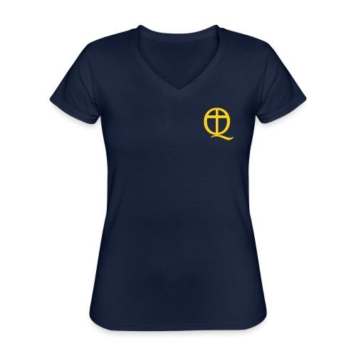 QC Gul - Klassisk T-shirt med V-ringning dam