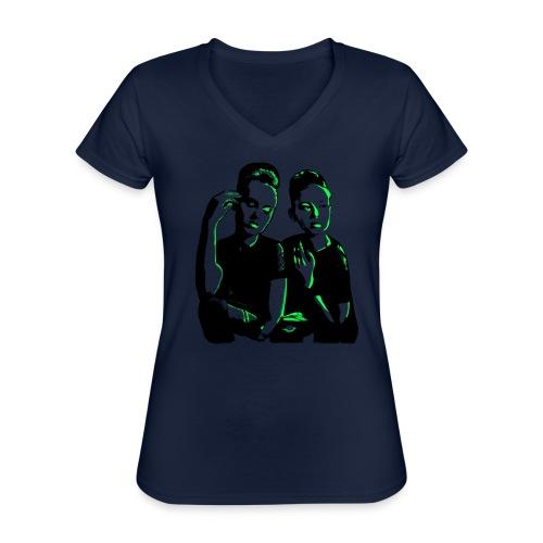 ATTITUDE<>WOKE (neon green) - Klassisk dame T-shirt med V-udskæring