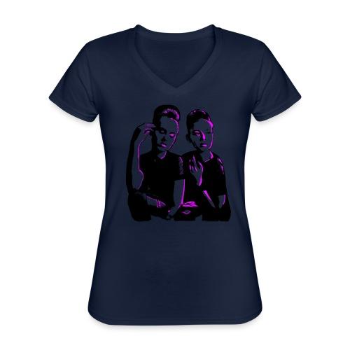 ATTITUDE<>WOKE (pink) - Klassisk dame T-shirt med V-udskæring