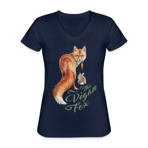 The Vegan Fox door Maria Tiqwah - Klassiek vrouwen T-shirt met V-hals