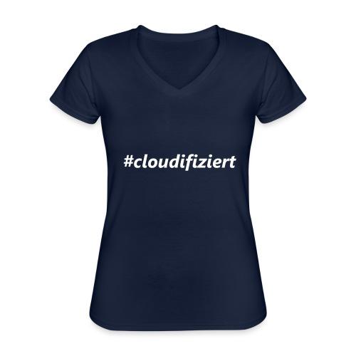 #Cloudifiziert white - Klassisches Frauen-T-Shirt mit V-Ausschnitt
