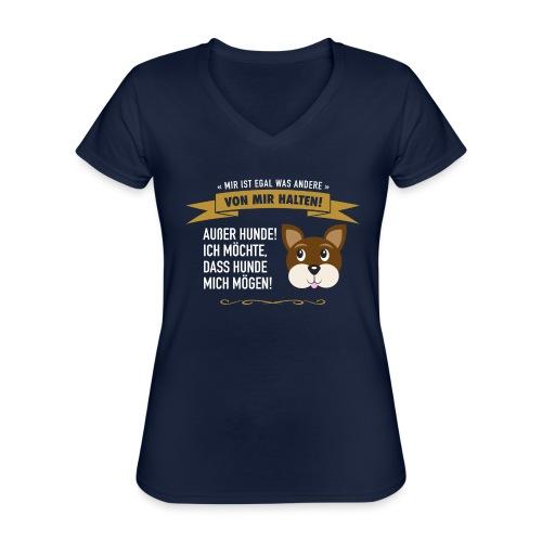 Hauptsache Hundeliebe! - Klassisches Frauen-T-Shirt mit V-Ausschnitt